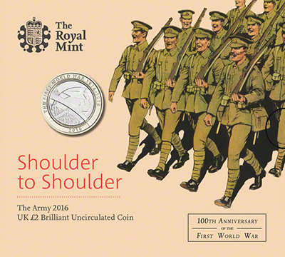 2015 The Army First World War Brilliant Uncirculated Two Pound Coin in Folder