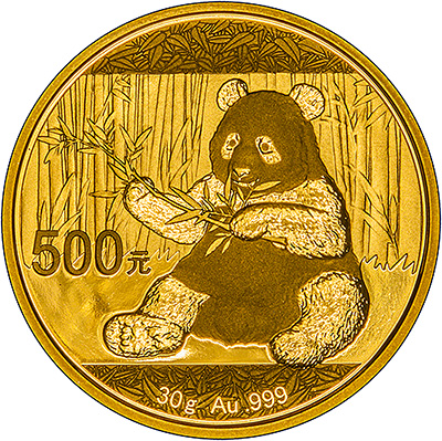 Reverse of 2017 Thirty Gram Chinese Gold Panda