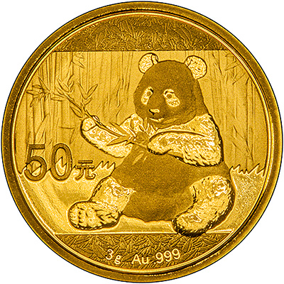 Reverse of 2017 Three Gram Chinese Gold Panda