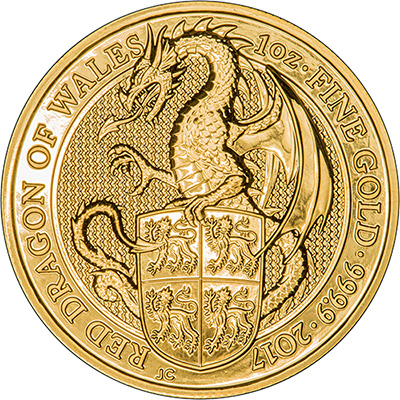 2017 UK One Ounce Gold Red Dragon Coins