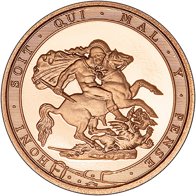 2017 proof quarter Sovereign Reverse featuring the border text Honi Soit Qui Mal Y Pense