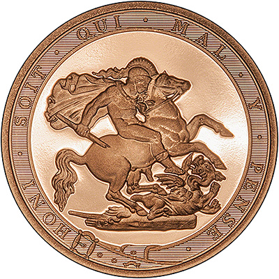 2017 proof Sovereign Reverse featuring the border text Honi Soit Qui Mal Y Pense