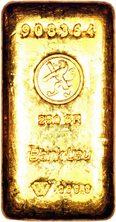 Bank Leu 250 Gram Gold Bar