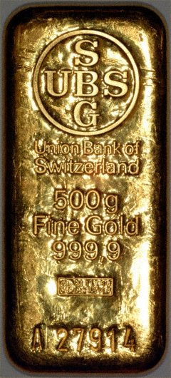 Our UBS 500 Gram Gold Bar Reverse Photo