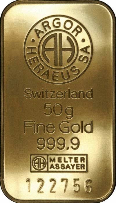 Obverse of 50g Gold Bar
