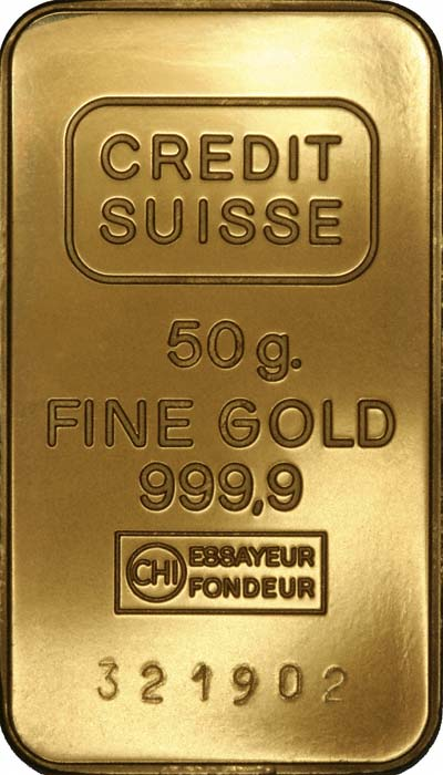 Our Credit Suisse 50 Gram Gold Bar Reverse Photo