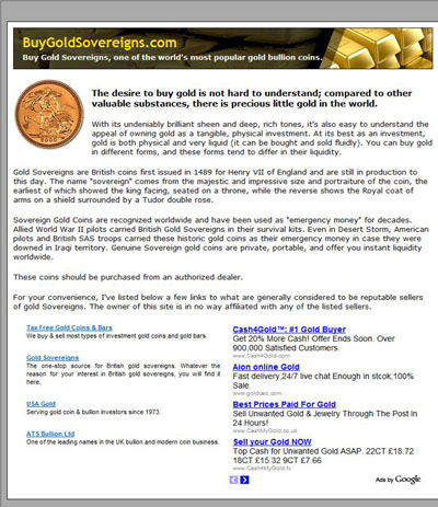 Buy Gold Sovereigns buygoldsovereigns.com Index Page