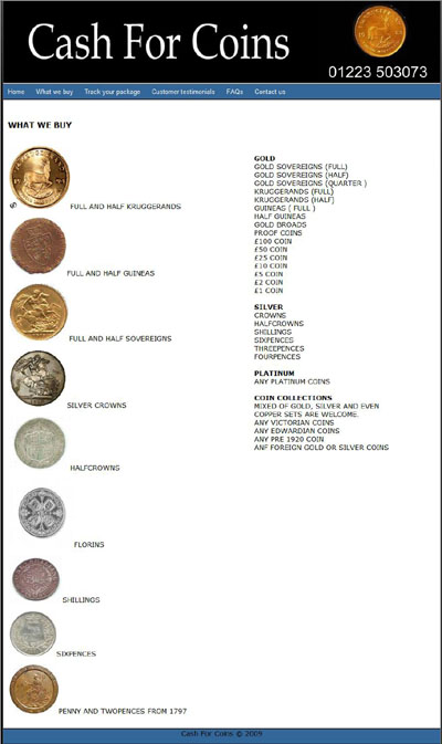 Cash For Coins's What We Buy Page