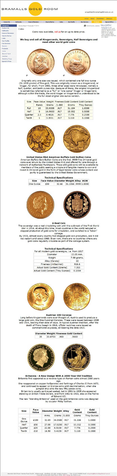 Bramalls Gold Room (bramallsgoldroom.co.uk) Gold Coins Page