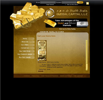 Global Capital's One Kilo Gold Bar  Page