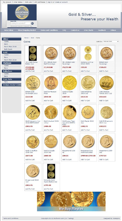 Bullion UK's Gold Coins Page