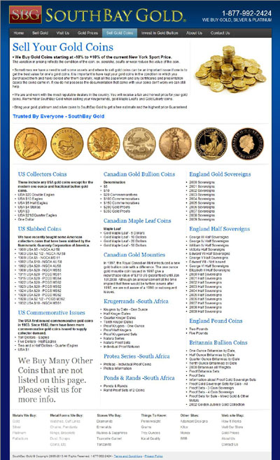 South Bay Gold of California Sell Your Gold Coins Page