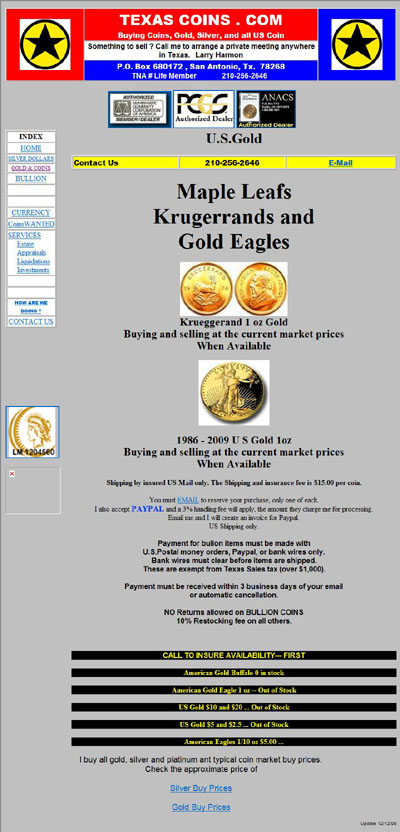 Texas Coins of San Antonio Gold & Coins Page