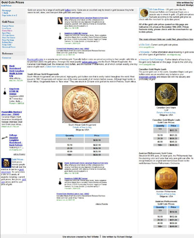 Gold Prices Gold-Price.Com Krugerrands Page