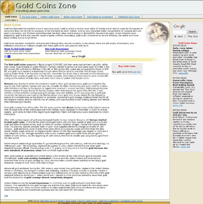 Gold Coins Zone InetSolve Inc.'s Index Page