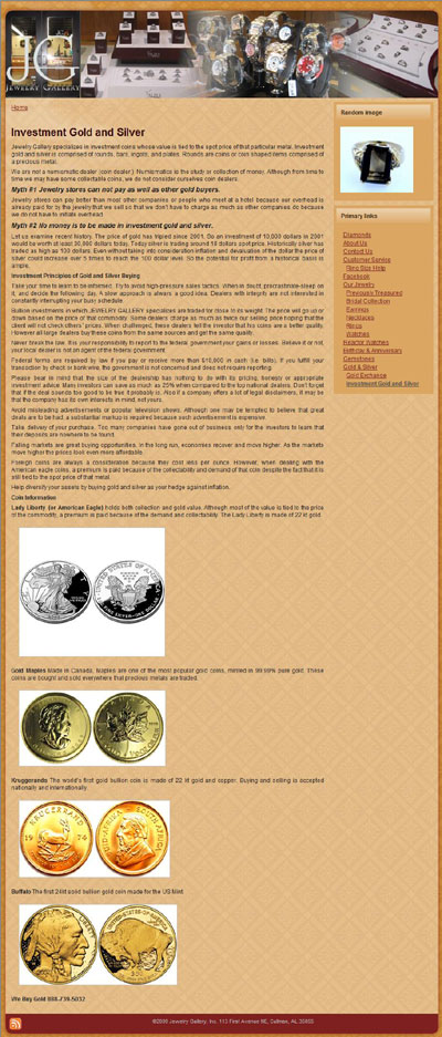 Jewelry Gallery (jewelrygallery.com) Investment Gold and Silver Page