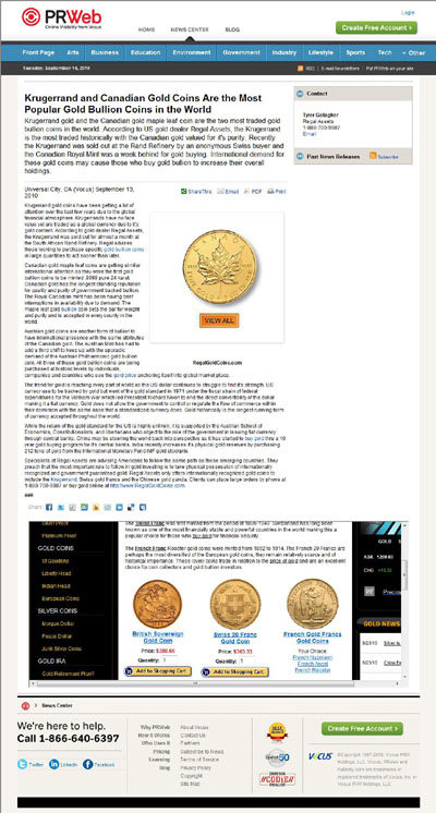 PRWeb & Regal Assets Press Release Using Our 1958 Gold Sovereign Photographs