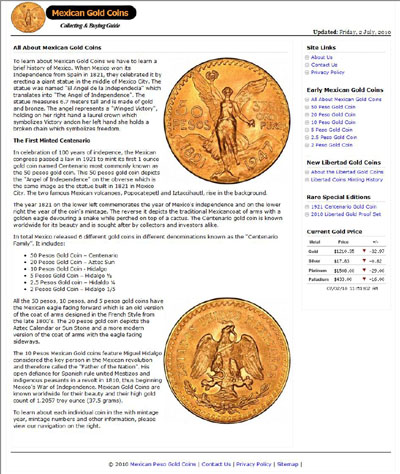 Mexican Peso Gold Coins Miguel Mayorga 's Index Page