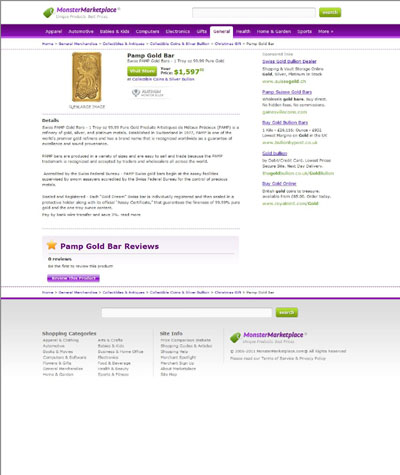 Monster Marketplace's Gold bars Page