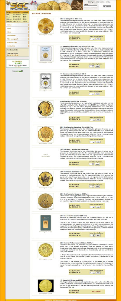Suisse Gold Corporation's European Gold Coins Page