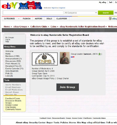 Welcome to ebay Numismatic Seller Registration Board eBay Groups Page