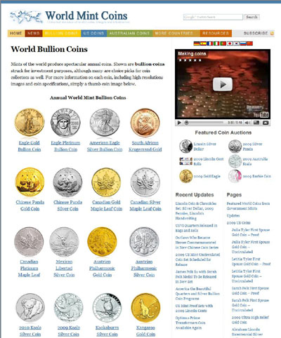 World Mint Coins worldmintcoins.com World Bullion Coins Page