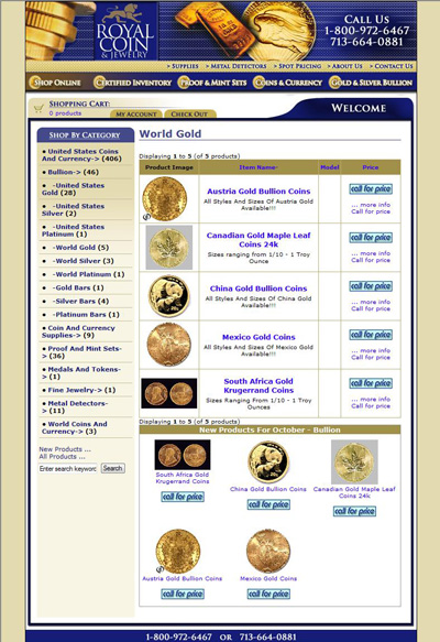 Royal Coin & Jewelry's World Gold Coins Page