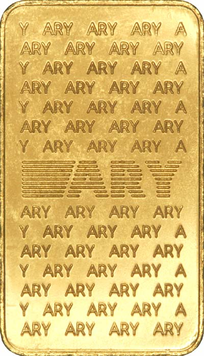 Reverse of ARY 1 Ounce Gold Bar