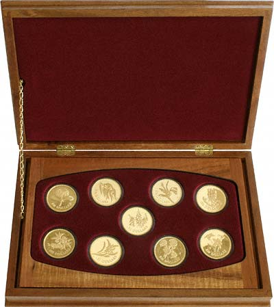 Set of 9 x $150 Gold Proof Coins in Wooden Box