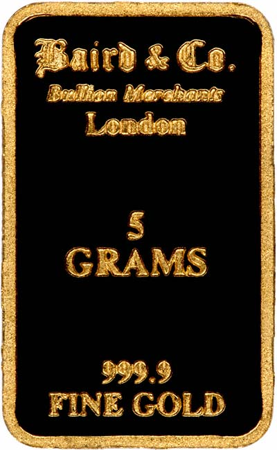 Obverse of 5g Gold Bar
