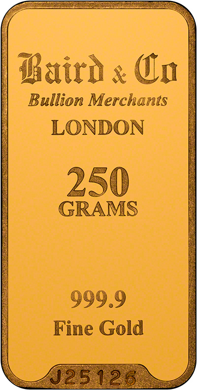 Obverse of Baird & Co 250g Gold Bar