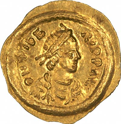 Obverse of Byzantine Gold Tremissis of Maurice Tiberius