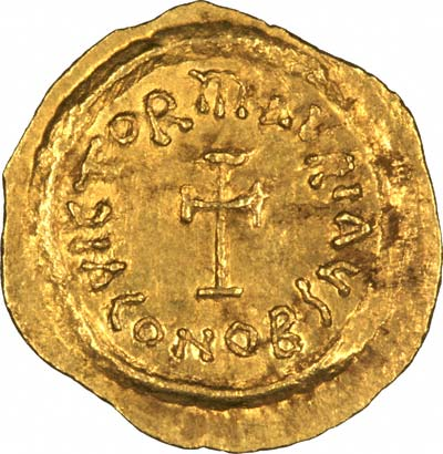 CONOB on Reverse of Byzantine Gold Tremissis of Maurice Tiberius