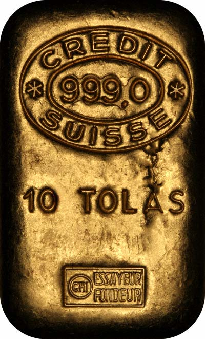Obverse of Credit Suisse 10 Tolas Gold Bar