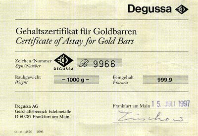 Certificate for Degussa Kilo Gold Bar
