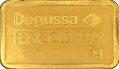 Degussa Five Gram Gold Bar