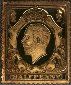 George V on Gold Halfpenny Stamp Replica