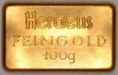 Heraeus 100 Gram Bar