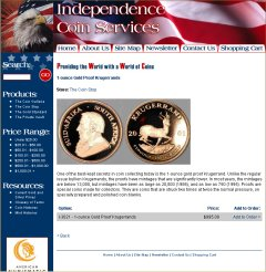 Independence Coin Services Krugerrands Page