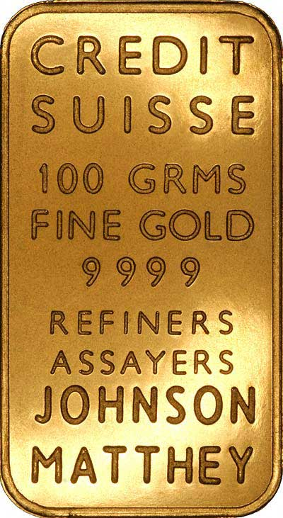Reverse of Credit Suisse Johnson Matthey 100g Gold Bar Photograph