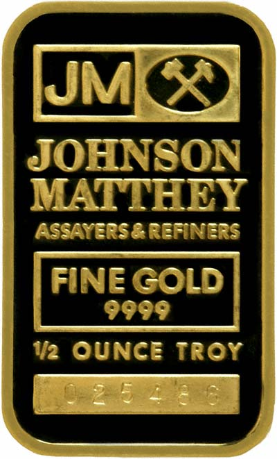 Obverse of Half Ounce Gold Bar