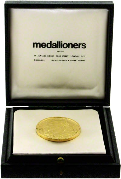 1965 Churchill Gold Medallion by Medallioneers in Presentation Box