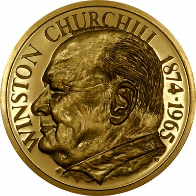 Obverse of 1965 Churchill Gold Medallion by Medallioneers
