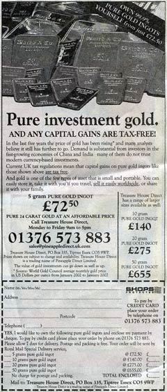 Pure Investment Gold Advert