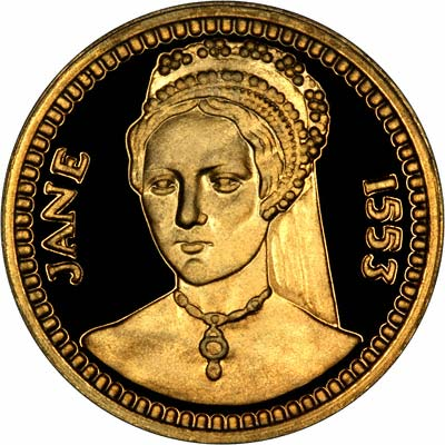 Lady Jane Grey on Obverse of 'Our Royal Sovereigns' Medallion by Danbury Mint