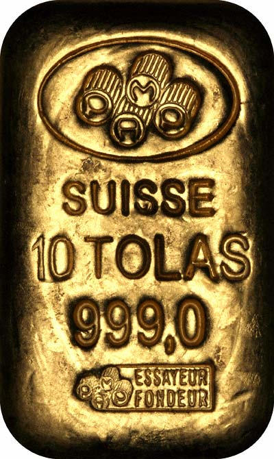 Obverse of Pamp Suisse 10 Tolas Gold Bar