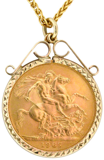 Obverse of Scroll Top Sovereign Pendant
