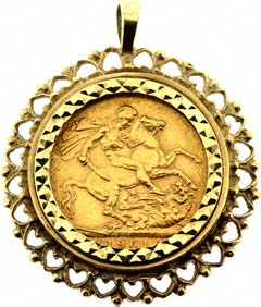 Second hand sovereign coin pendants for sale fancy sovereign pendant aloadofball Image collections