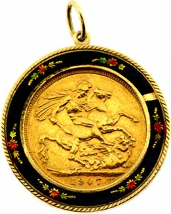 Second hand sovereign coin pendants for sale enamelled sovereign pendant aloadofball Image collections