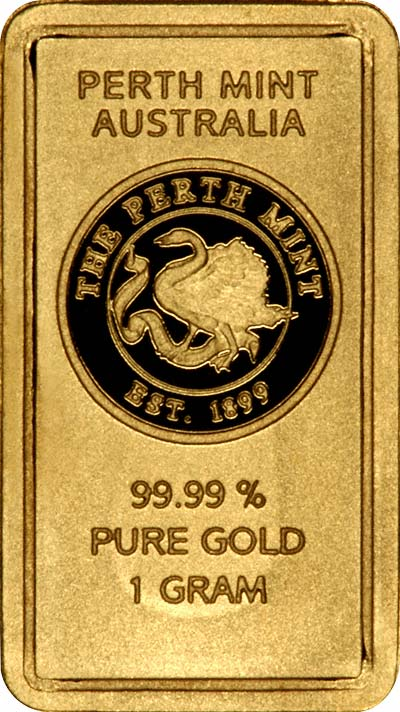 Obverse of Perth Mint One Gram Gold Bar